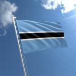 Botswanas flag is blue with a black stripe bordered in white