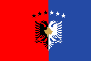 One of the flags Kosovo has had over the decades...Hm, sure looks like the flag of Albania.